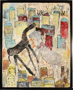 Purvis Young. Lg. Horses Fighting Over City.