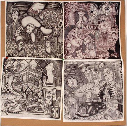 TX Chicano Prison Art Panos. Four Panos.