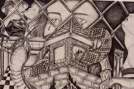 TX Chicano Prison Art Panos. Four Panos. - 2