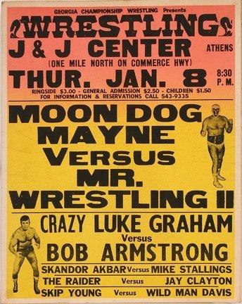 832: GA Wrestling Poster. Moon Dog Mayne.