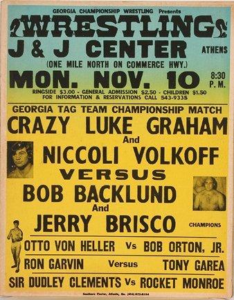 837: GA Wrestling Poster. Crazy Luke Graham.
