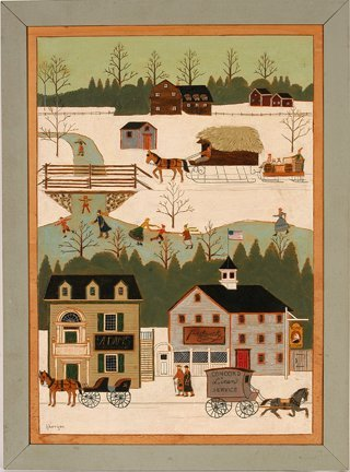 900: K. Harrigan. Winter Town Scene.