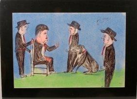 S.L. Jones. Four Men With Dog.