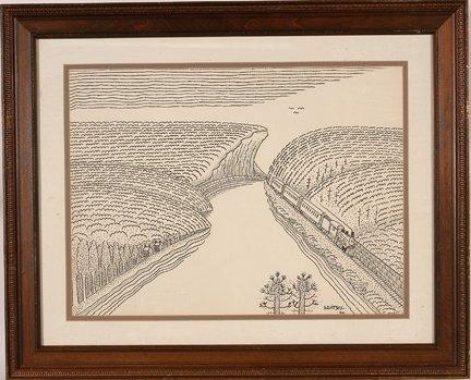 948: Jack Savitsky. Train Through River Gorge.