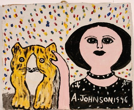 959: Anderson Johnson. Women Petting Cat.