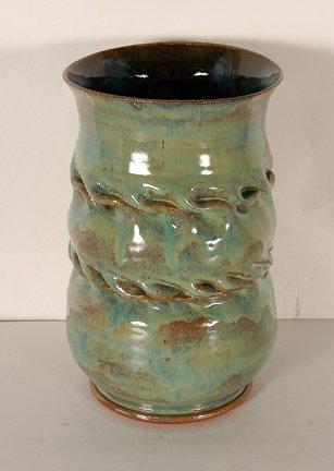 1: Bill Clark. Green Dbl Swirl Vase.