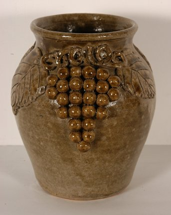 22: Lanier Meaders. 2-Sided Grape Decorated Pot.