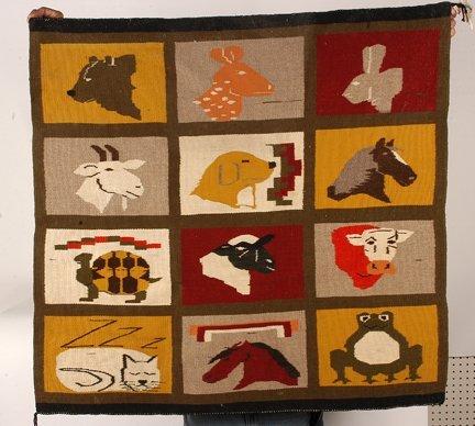 846: Pete Sisters (attrib.) 12 Animals Pictorial Rug.