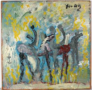 Purvis Young. Horse & Riders w Blue Sky.