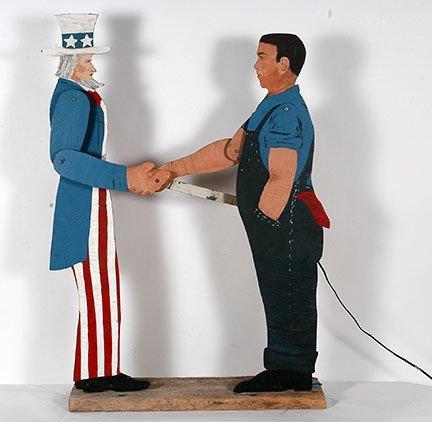 Farmer Shaking Uncle Sam's Hand.