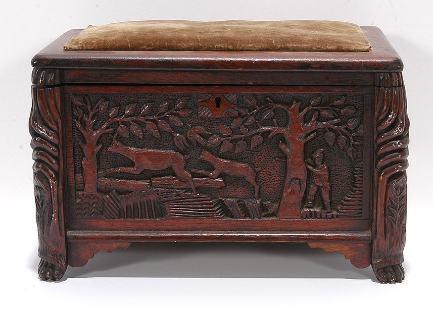 Detailed Carved Sewing Box.