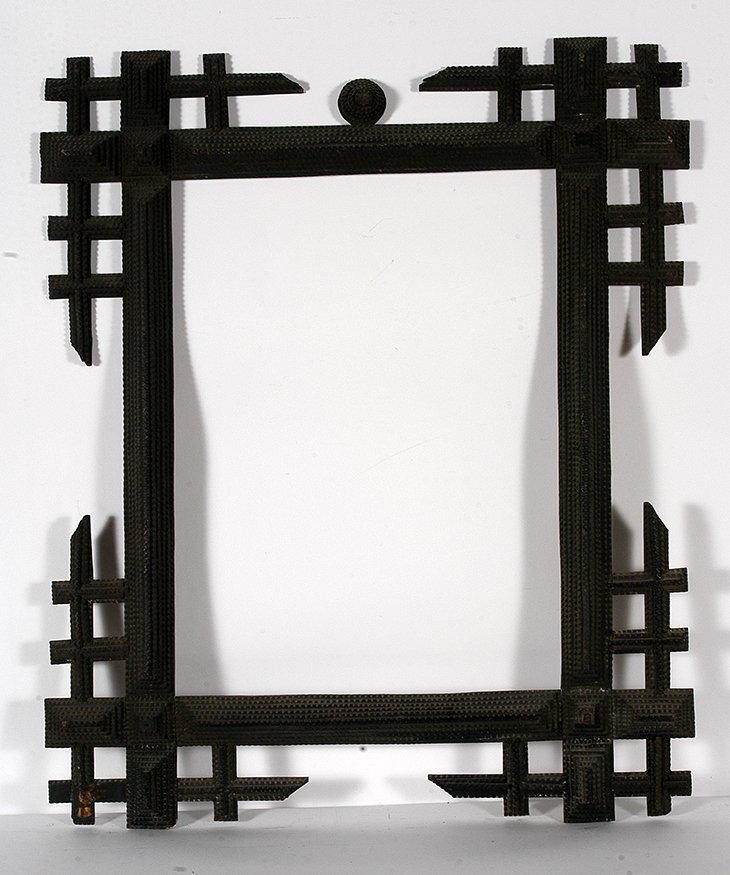 Lg Tramp Art Geometric Corners Frame.