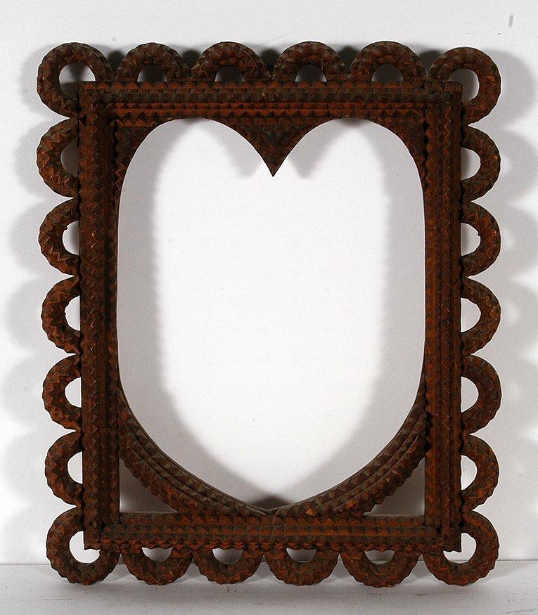 Tramp Art Heart Frame w Loops.