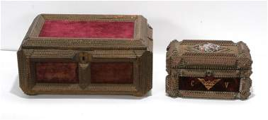 Pair of Tramp Art Sewing Boxes