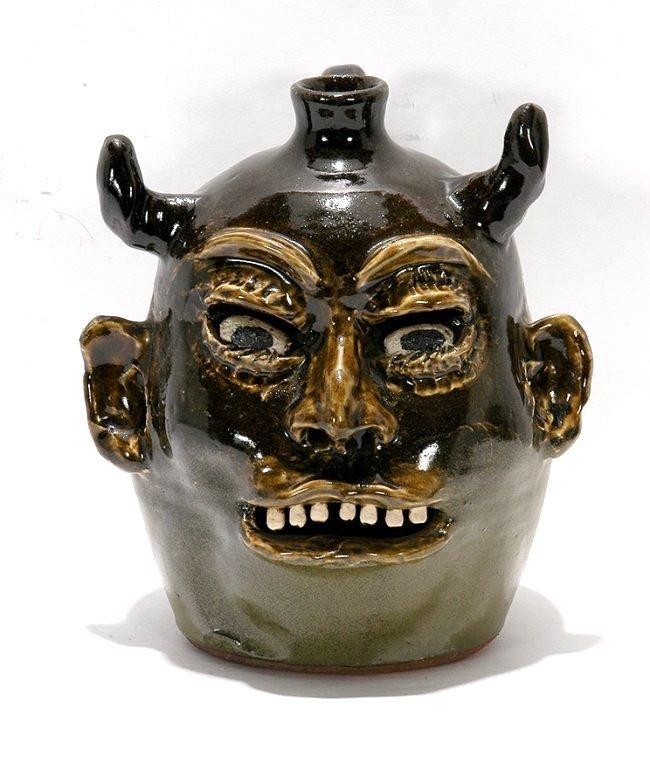 Lanier Meaders. Devil Jack O' Lantern Face Jug.