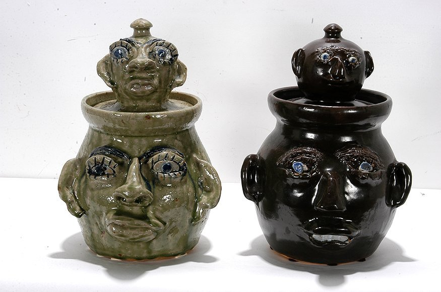 Jerry Brown. Pair of Cookie Face Jars.