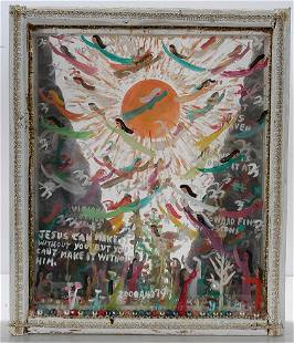 Howard Finster. Sun Burst 4 Layer Shadow Box, #2,797.