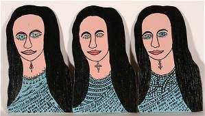 Howard Finster. 3 Mona Lisa Cut Outs.