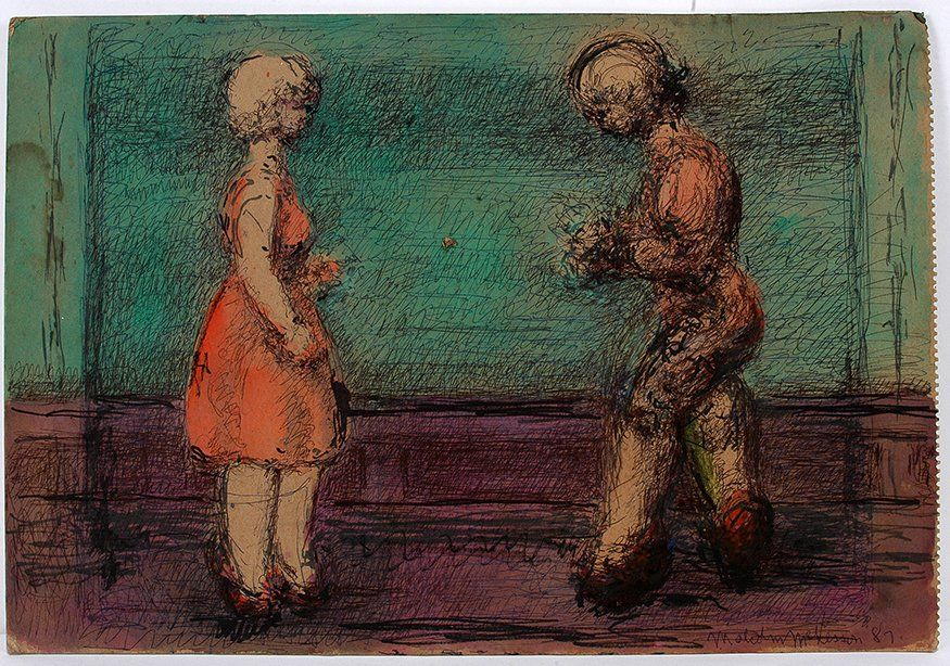 Malcolm McKesson. 2 Figures On Green.