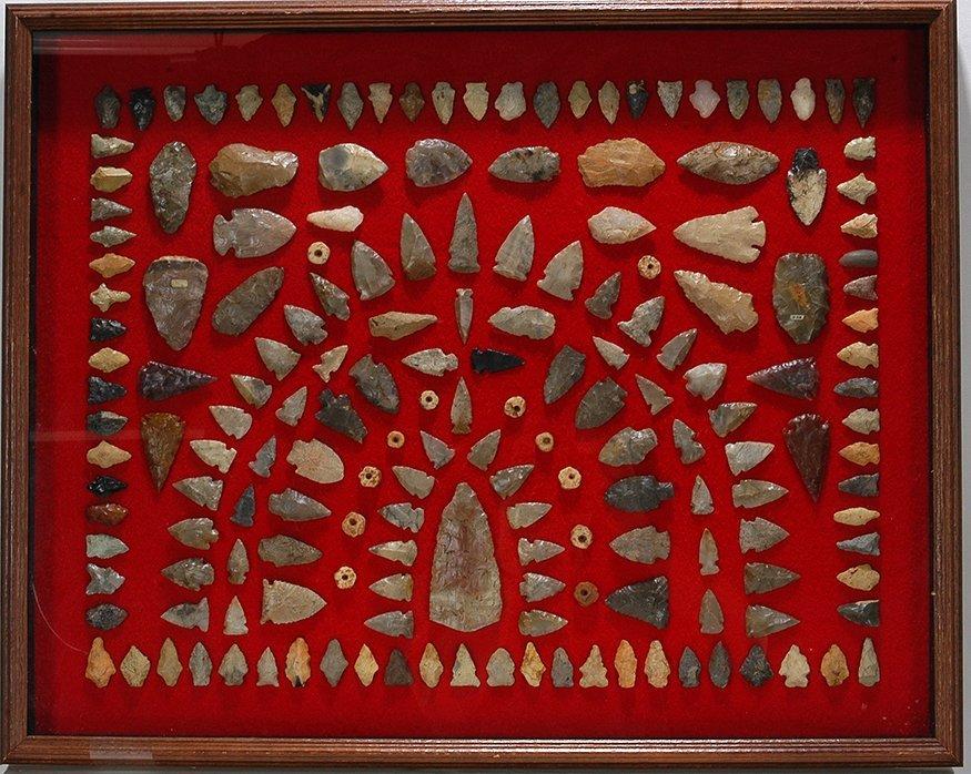 Native American. Large Arrowhead Display.