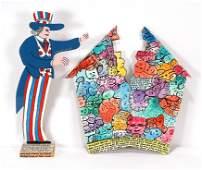 Howard Finster. House Divided & Uncle Sam.