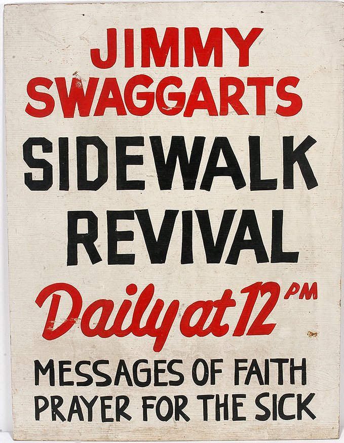 Sidewalk Revival Sign. Jimmy Swaggart.