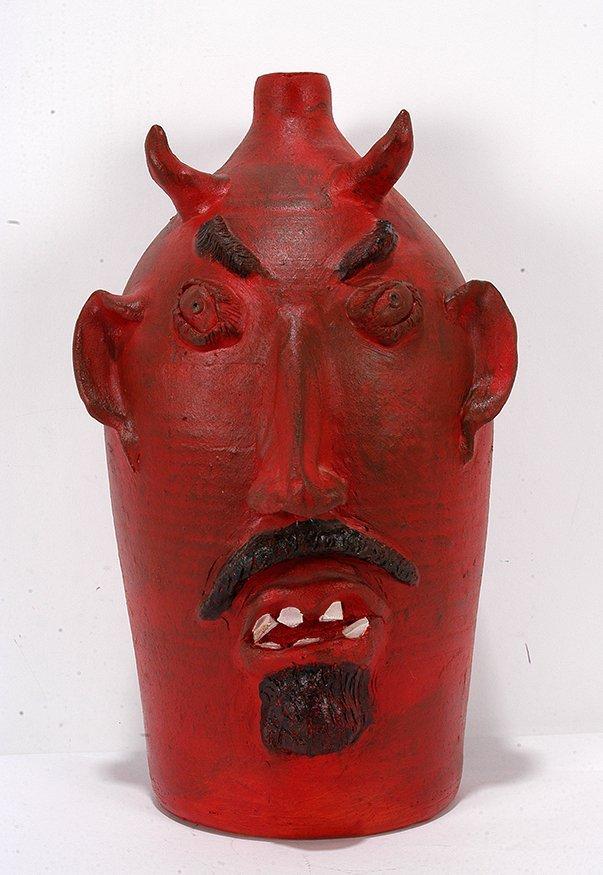 Louis Brown. Red Devil Face Jug.