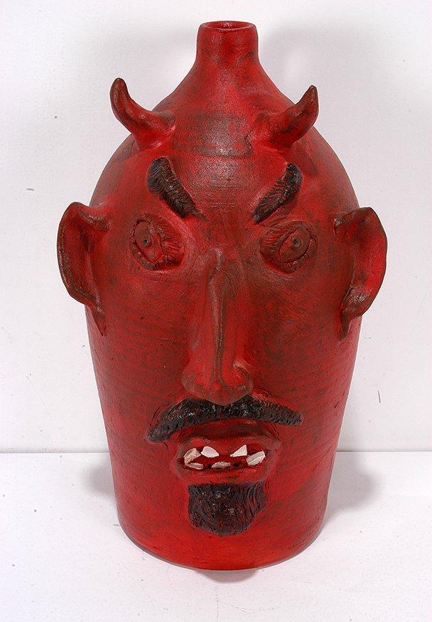 Louis Brown. Red Devil Face Jug. - 2