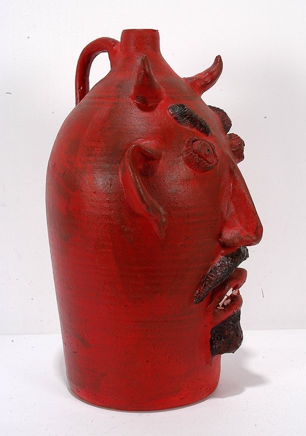Louis Brown. Red Devil Face Jug. - 3