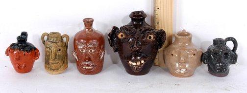 2: Pottery 6 Mini Face Jugs