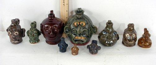 3: Group of 10 Mini Face Jugs