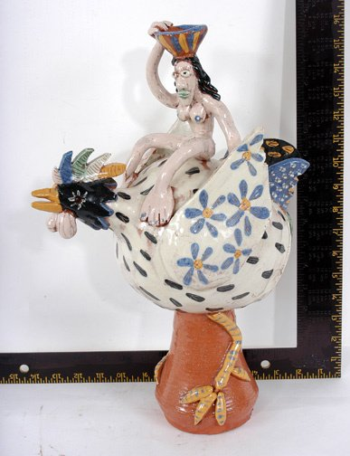 5: Texas Pottery Group Nude Woman Riding Chicken