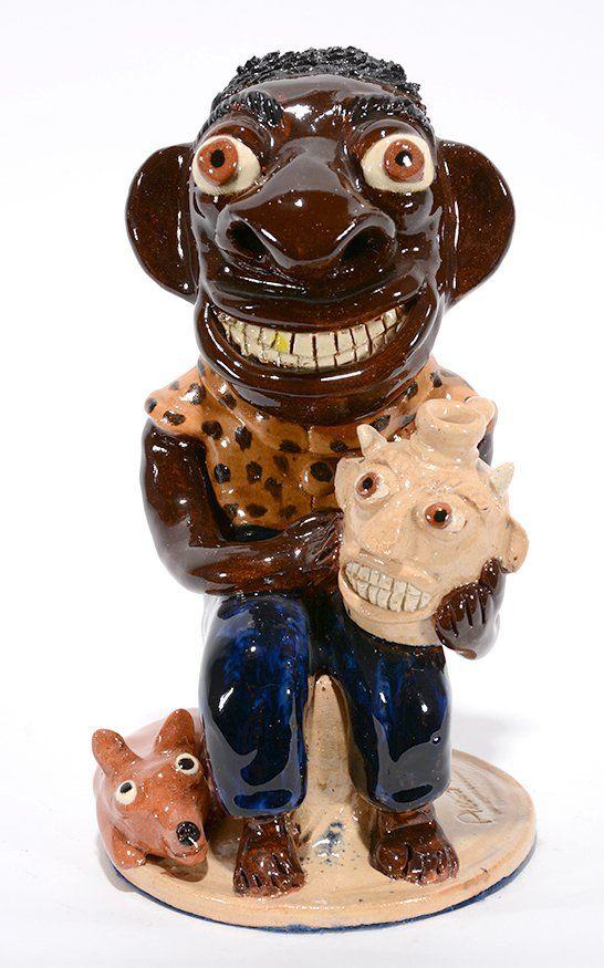 Albert Hodge. Man With Face Jug and Dog.