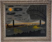 Gustav Klumpp. Brooklyn Bridge At Night.