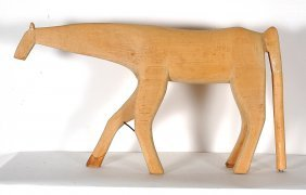 Minnie & Garland Adkins. Large Natural Wood Horse.