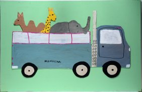 Mamie Deschillie. Circus Truck With Animals.