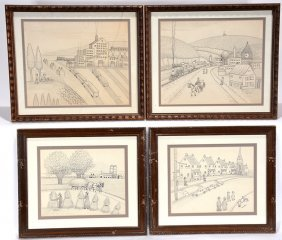 Jack Savitsky. Four Works Depicting Coal Towns.