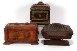 Three Tramp Art Boxes