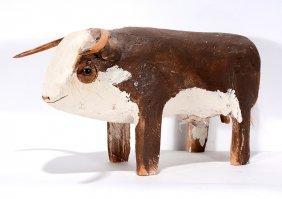 Woody Herbert. Brown & White Long Horn Bull.