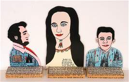 Howard Finster. 3 Cut Out Portraits.