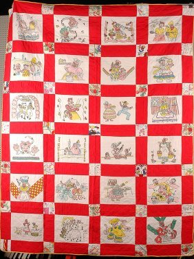Pictorial Cotton Quilt. 24 Stereotypical Af Am Scenes.