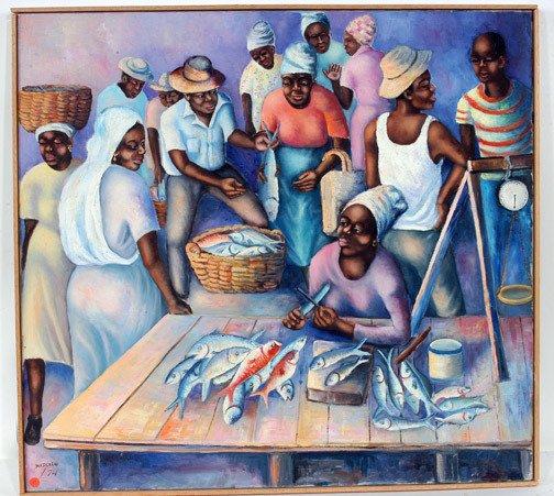187: Marcelio Trinidad Fish Market  Painting