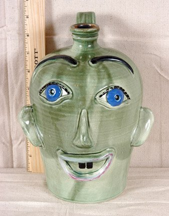 3: Rodney Leftwich Light Green Face Jug