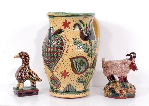 21: Jeff White Redware Pitcher and Pair of Figurines