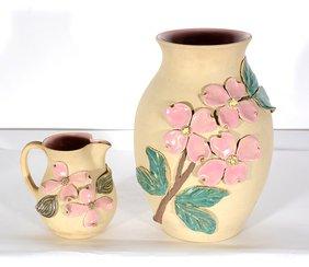 W.J. Gordy. Dogwood Decorated Vase And Pitcher.