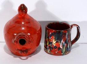 Cole Pottery. Birdhouse & Mug.