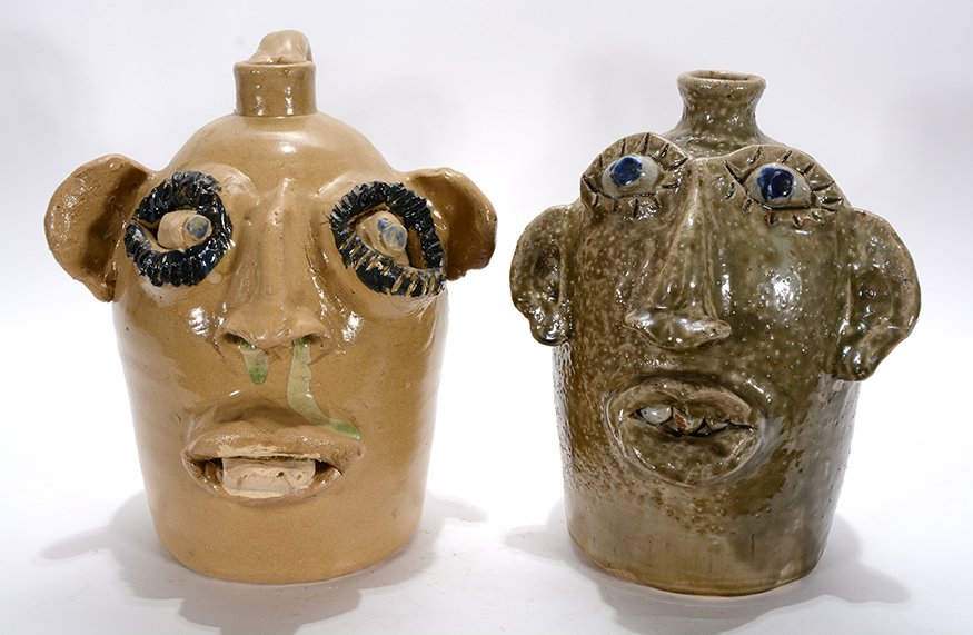 Jerry Brown. Pair Of Frog Green Face Jugs.
