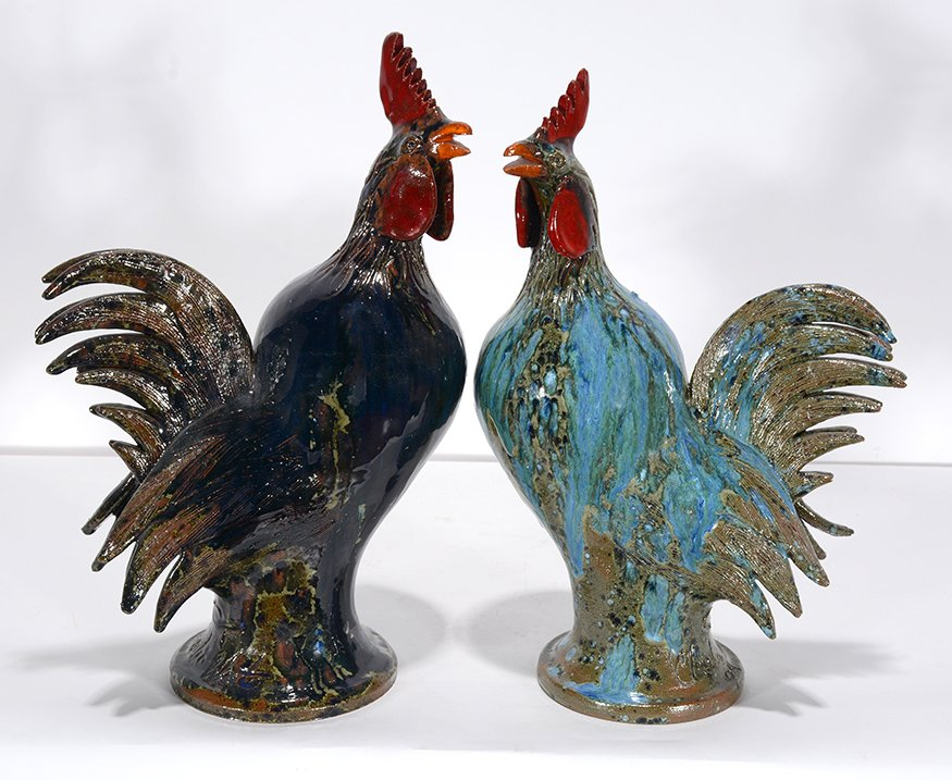 Charlie West. Pair Of Colorful Rooster.