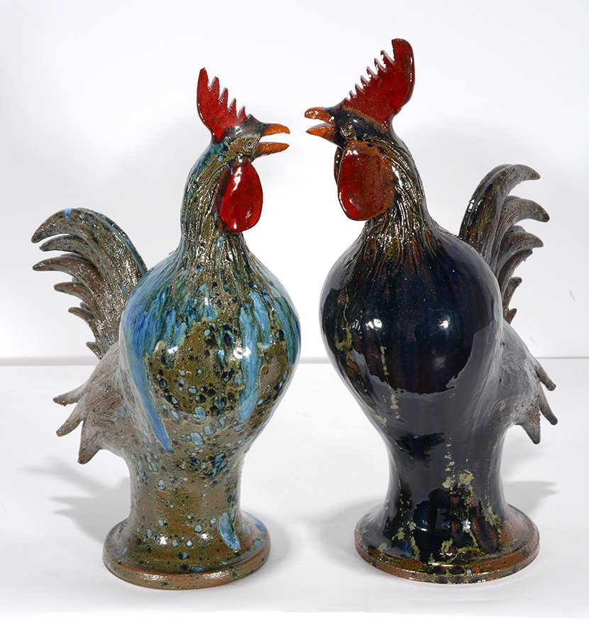 Charlie West. Pair Of Colorful Rooster. - 2