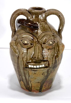 Walter Fleming. Face Jug With Snake.